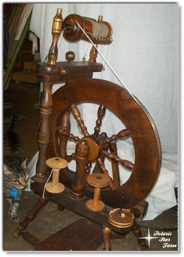 upright spinning wheel and a curious kitty